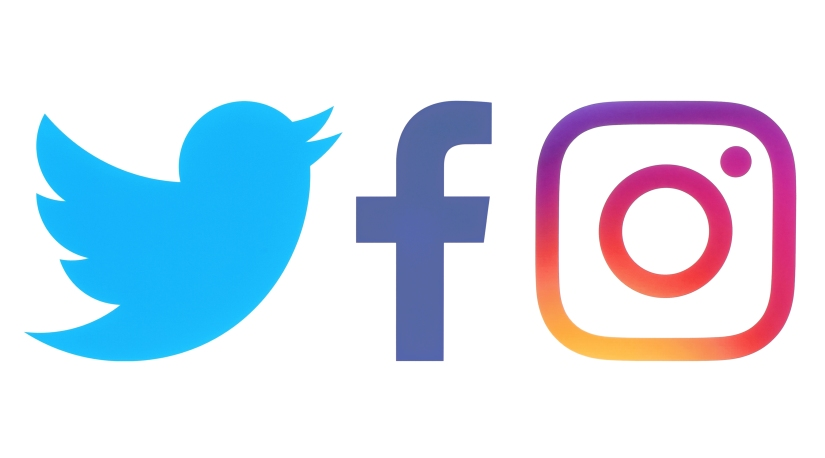 Facebook, Twitter and Instagram logos